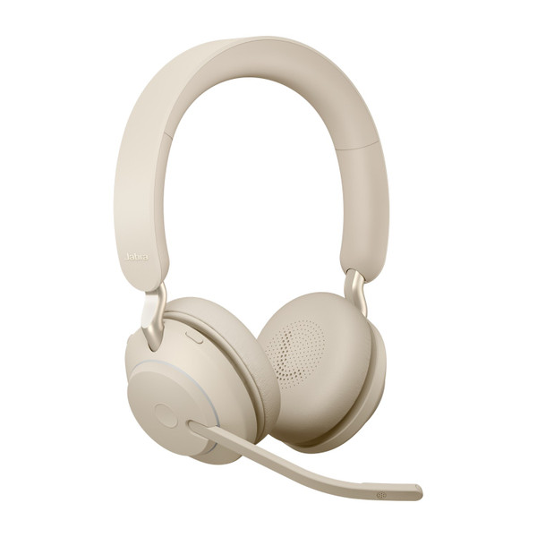 Jabra Evolve2 65 UC Stereo Headset, Link 380 USB-A Wireless Adapter (Beige)