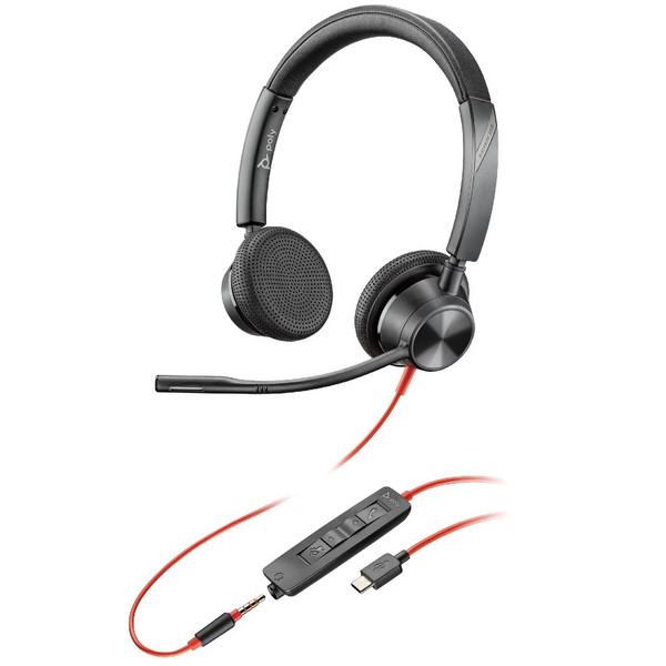 Poly Blackwire 3325 UC Stereo USB-C With 3.5mm Office Headset