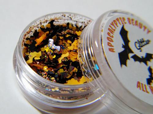 All Hallows' Eve chunky orange & black bats glitter blend