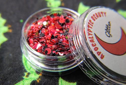 Blood Moon - red & black moon and stars custom glitter blend