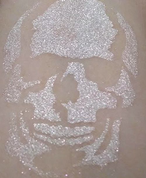 Bejeweled Skull - white eyeshadow with diamond and ruby sparks