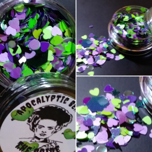 The Bride - green and purple hearts chunky glitter blend