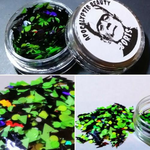 Boris - black and neon green chunky glitter blend