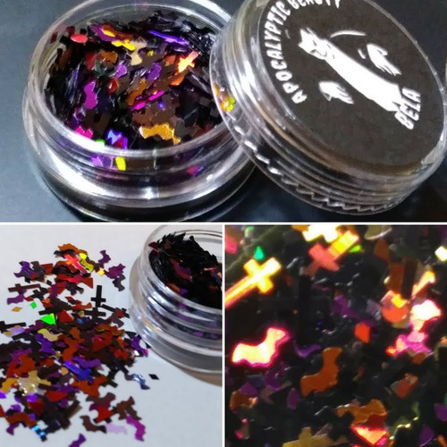 Bela - black and holographic red chunky glitter blend