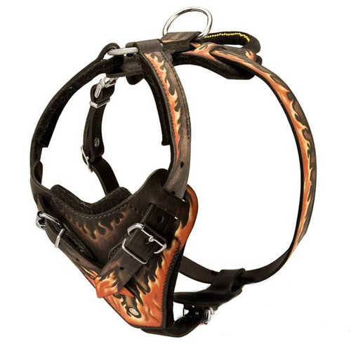 Leather K9 Harness with Flames