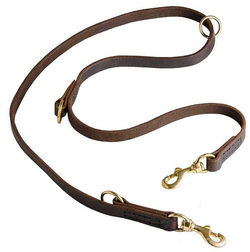 Wide Flat Leather Multifunctional K9 Leash