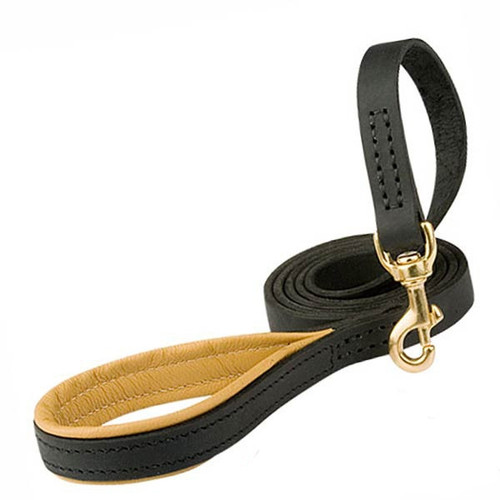 Leather K9 Leash with Padded Handle