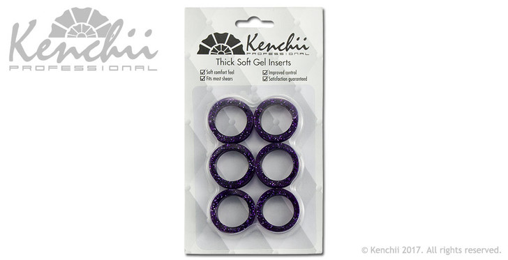 Thick purple finger inserts for shears.