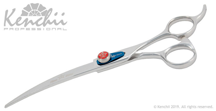 Kenchii Five Star™ 7-inch curved grooming shear profile.
