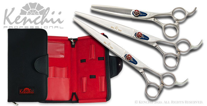 Kenchii Five Star offset right-handed grooming shear set.