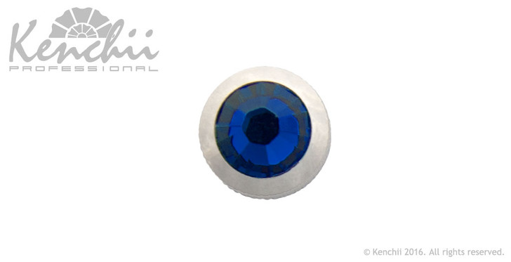 Blue single stone jewel screw.