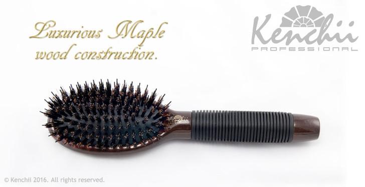 Small Boar and Nylon Bristle Brush with One-piece Maple Body