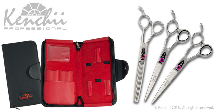 Love™ 7-inch dog grooming set. Includes straight and curved shears, and your choice of 46-tooth or 22-tooth thinners. (Shown with 46-tooth thinner)