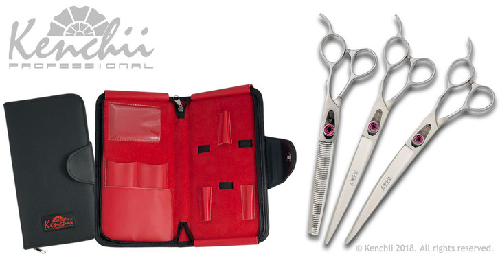 Love™ 8-inch dog grooming set. Includes straight and curved shears, and your choice of 46-tooth or 22-tooth thinners. (Shown with 46-tooth thinner)