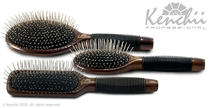 Complete metal pin brush kit with large oval, small oval, and large oblong brushes.