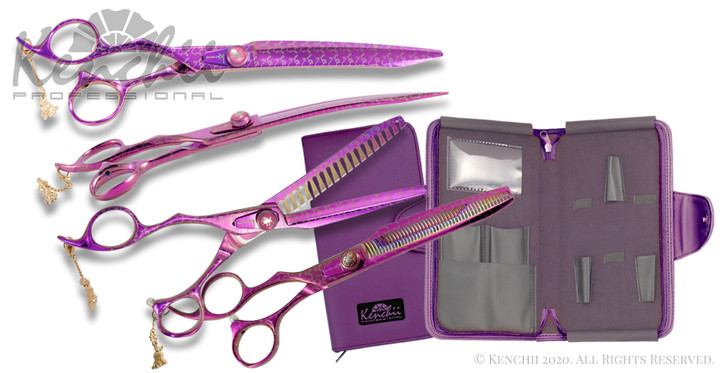 Kenchii Pink Poodle™ 8-inch left-handed set includes 8-inch straight and curved shears, and 7-inch 18-tooth thinner, 44-tooth thinner.