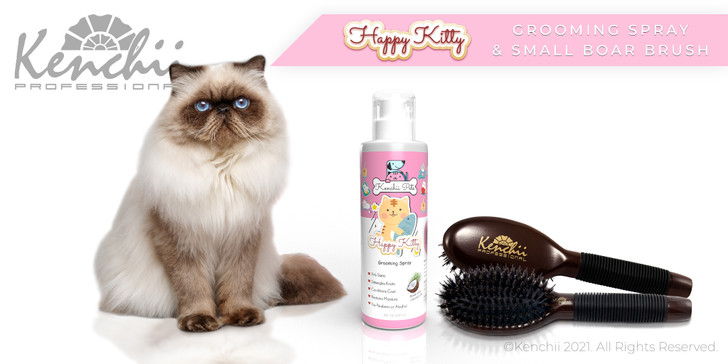 Happy Kitty™ Grooming Spray  with Small Boar & Nylon Brush