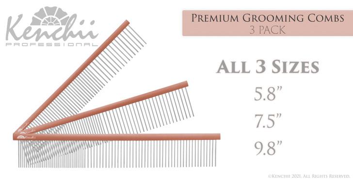 Kenchii™ Premium Satin Rose Gold Grooming Combs - Set - Pack of 3