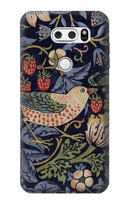 S3791 William Morris Strawberry Thief Fabric Case For LG V30, LG V30 Plus, LG V30S ThinQ, LG V35, LG V35 ThinQ