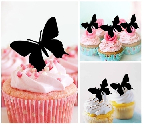 TA0003 Butterfly Silhouette Party Wedding Birthday Acrylic Cupcake Toppers Decor 10 pcs