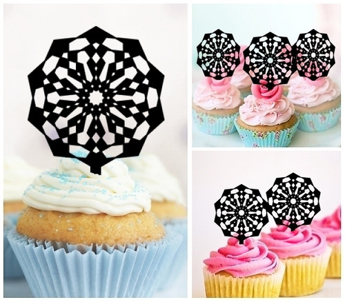 TA0004 Ferris Wheel Silhouette Party Wedding Birthday Acrylic Cupcake Toppers Decor 10 pcs