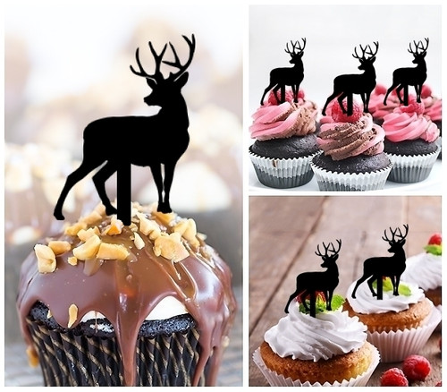 TA0007 Deer Reindeer Silhouette Party Wedding Birthday Acrylic Cupcake Toppers Decor 10 pcs