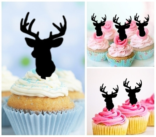 TA0008 Reindeer Antler Silhouette Party Wedding Birthday Acrylic Cupcake Toppers Decor 10 pcs