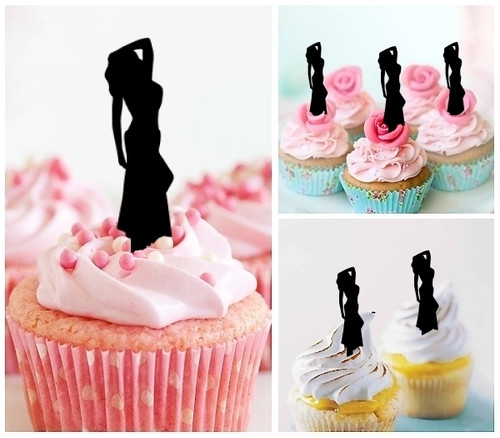 TA0013 Model Woman Silhouette Party Wedding Birthday Acrylic Cupcake Toppers Decor 10 pcs