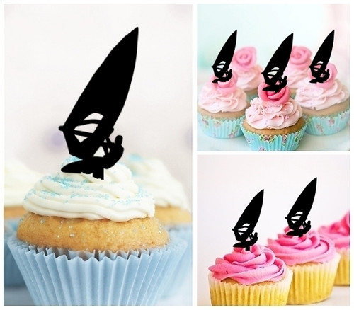 TA0015 Windsurfing Silhouette Party Wedding Birthday Acrylic Cupcake Toppers Decor 10 pcs