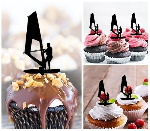 TA0017 Windsurfing Silhouette Party Wedding Birthday Acrylic Cupcake Toppers Decor 10 pcs
