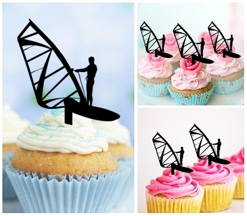 TA0018 Windsurfing Silhouette Party Wedding Birthday Acrylic Cupcake Toppers Decor 10 pcs