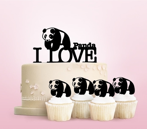 TC0001 I Love Panda Party Wedding Birthday Acrylic Cake Topper Cupcake Toppers Decor Set 11 pcs