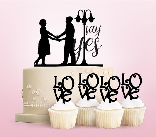 TC0002 Say Yes Wedding Marriage Couple Party Wedding Birthday Acrylic Cake Topper Cupcake Toppers Decor Set 11 pcs