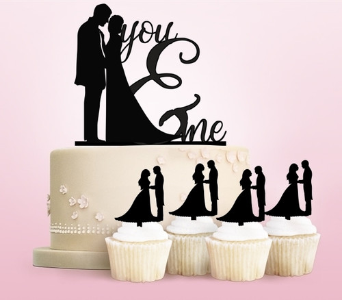 TC0004 You and Me Marry Party Wedding Birthday Acrylic Cake Topper Cupcake Toppers Decor Set 11 pcs