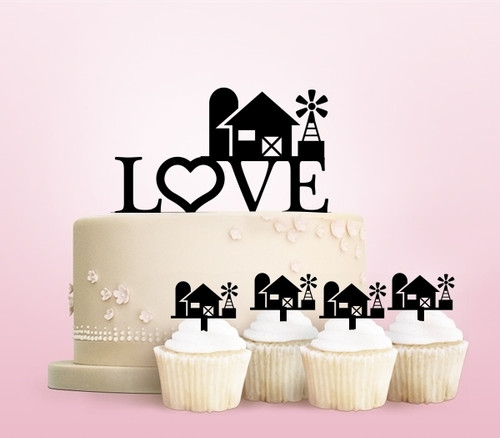 TC0009 Love Farm Party Wedding Birthday Acrylic Cake Topper Cupcake Toppers Decor Set 11 pcs