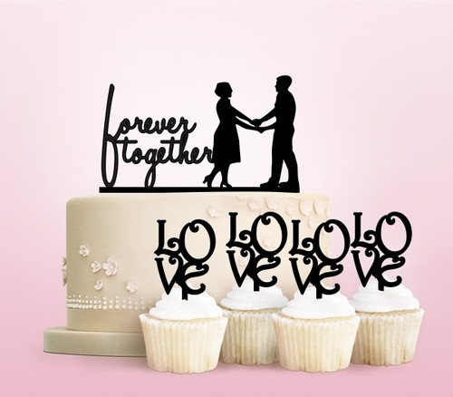 TC0014 Forever Together Party Wedding Birthday Acrylic Cake Topper Cupcake Toppers Decor Set 11 pcs