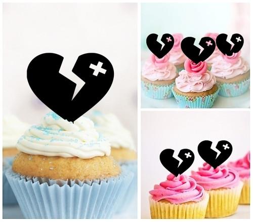 TA1181 Broken Heart Silhouette Party Wedding Birthday Acrylic Cupcake Toppers Decor 10 pcs