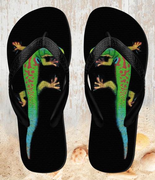 FA0012 Green Madagascan Gecko Beach Slippers Sandals Flip Flops Unisex