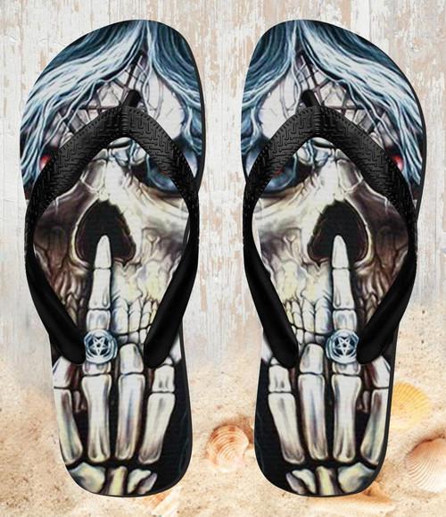 FA0014 Skull Pentagram Beach Slippers Sandals Flip Flops Unisex