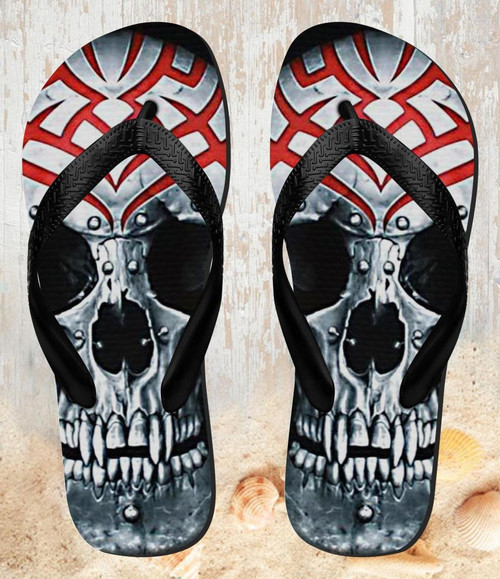FA0015 Vampire Skull Tattoo Beach Slippers Sandals Flip Flops Unisex