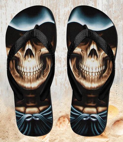 FA0016 Skull Grim Reaper Beach Slippers Sandals Flip Flops Unisex