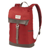 Front view of the Wenzel Stache 20 backpack, red and brown, showing the main compartment latched closed