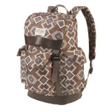 Front side view of the Wenzel Stache 28 backpack, brown with white and red alternating diamond patterns, showing side pockets and the main compartment closed.