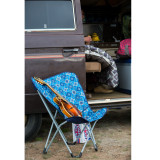 Wenzel Butterfly Chair, blue multi-color pattern, setup outside of a van on the ground