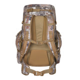 Carbine backpack in Kryptek Highlander camouflage.  Rear view of pack showing padded frame, shoulder straps and hip belt.