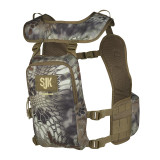 Pursuit Hunting Vest in Kryptek Highlander camouflage. Image of the vest is from the back, displaying one large compartment that is capable of holding up to a 70 ounce reservoir.