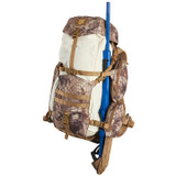 Deadfall 65 Liter backpack in Kryptek Highlander camouflage.  Right Side View of pack showing how the adjustable trophy carry system accommodates various sized game.