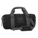 Black - Slumberjack Ransak 40 Duffel Bag in black. Image is a side shot of the bag with the carry straps lifted above the bag.