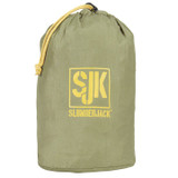 Hover Hammock in olive green, rolled up in its olive green carry bag. Carry bag included.