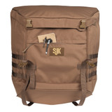 SJK Overland Utility Bin, Coyote Brown, front view, with notebook and pens partially extending from front pocket